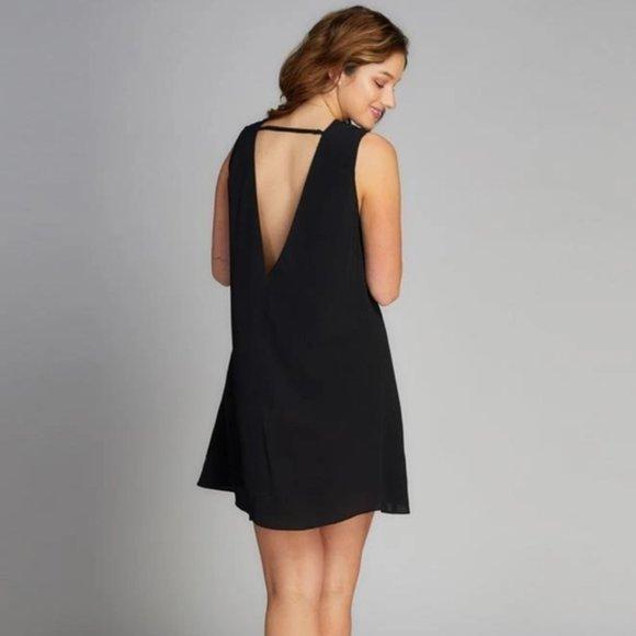 Black Swing Dress Deep Back V Neck M